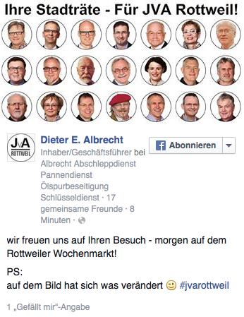 Dieter E. Albrecht lädt auf Facebook zu Gesprächen auf dem Wochenmarkt ein