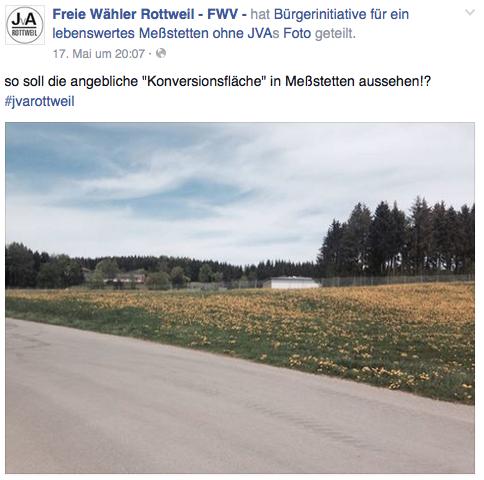 """FWV auf Facebook: So soll die angebliche """"Konversionsfläche"""" in Meßstetten aussehen!?"""