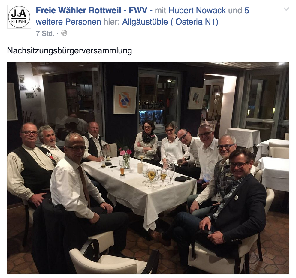 Eindrücke zur Bürgerversammlung der Freien Wähler auf Facebook