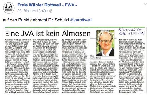 Freie Wähler begrüßen Kommentar von Armin Schulz