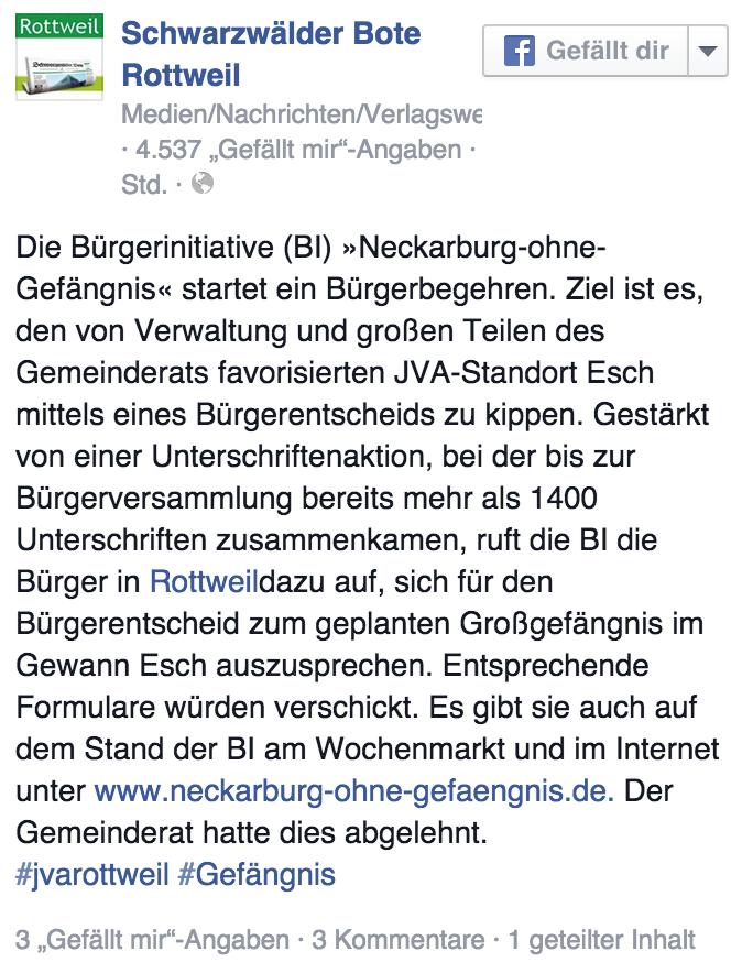 Schwabo auf Facebook: Die Bürgerinitiative startet ein Bürgerbegehren.