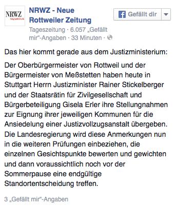 NRWZ auf Facebook: Das hier kommt gerade aus dem Justizministerium