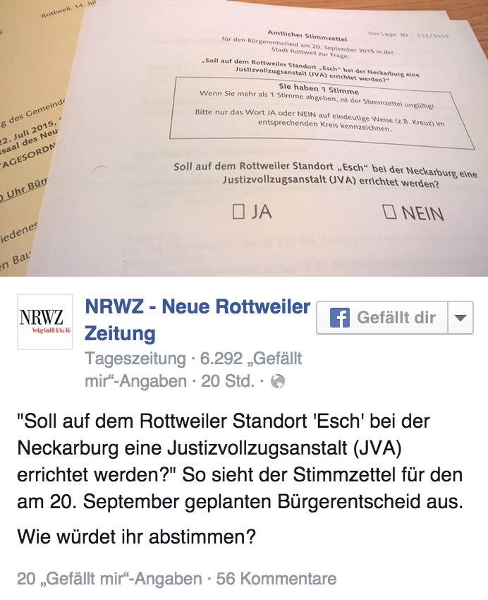 NRWZ auf Facebook: Viele Reaktionen auf die Frage des geplanten Bürgerentscheids