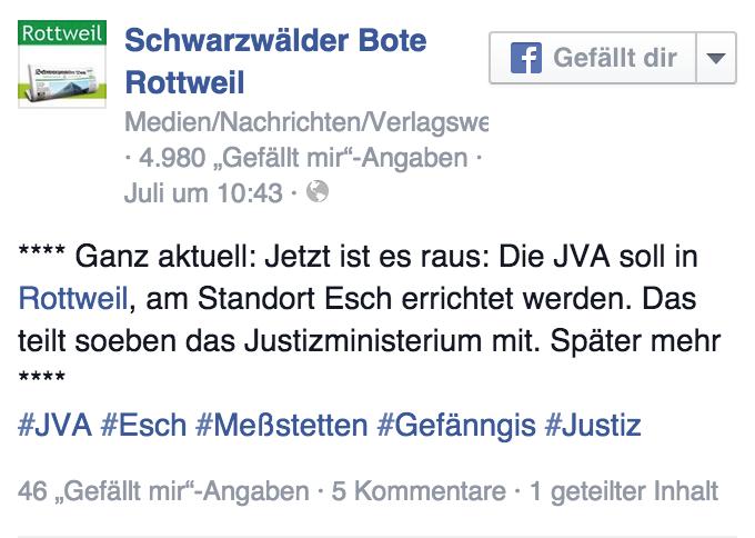Schwabo in Facebook: Jetzt ist es raus