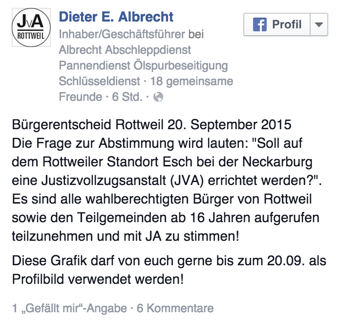 Facebook: Dieter E. Albrecht ruft zur Teilnahme am Bürgerentscheid auf