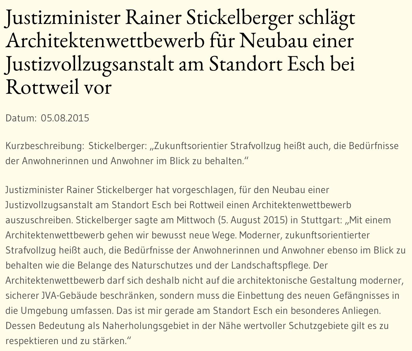 Pressemiteilung von Justizminister Rainer Stickelberger: Vorschlag eines Architektenwettbewerbs für JVA Neubau