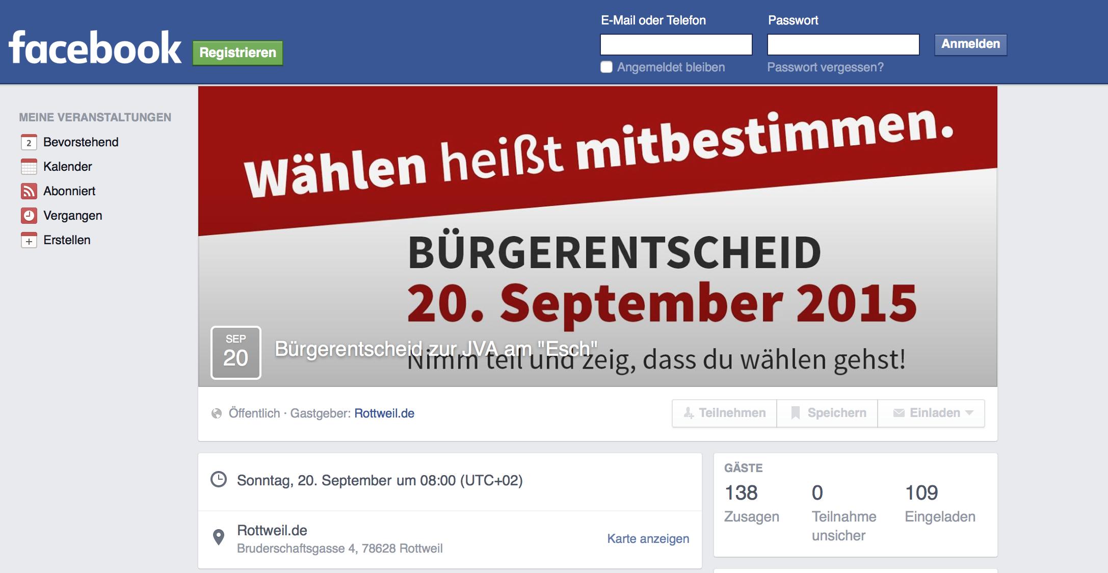 Die Stadt Rottweil startet Facebook Veranstaltung zum Bürgerentscheid